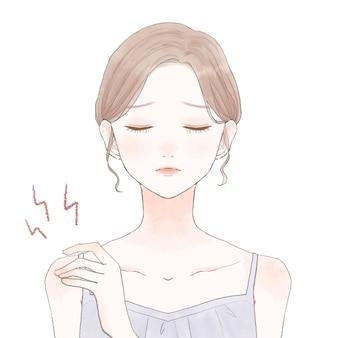 Una donna che soffre di spalle rigide. su uno sfondo bianco. stile artistico carino e semplice.