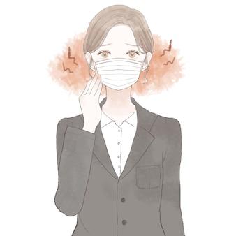 Donna in tuta che soffre di attrito e infiammazione causati dall'indossare una maschera. su sfondo bianco.