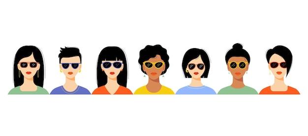 Forme di occhiali da sole da donna per diversi tipi di viso da donna. insieme di vettore.