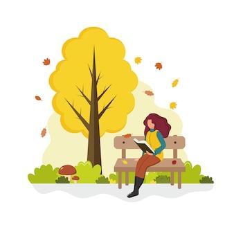 La donna in maglione si siede sulla panchina e legge il libro in autunno park vector flat cartoon illustration