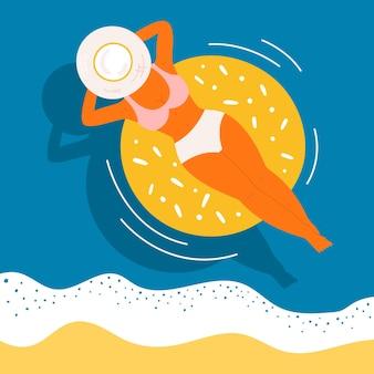Donna sul concetto di vettore di anello di gomma di nuoto. vista dall'alto di una ragazza abbronzata con un cappello su uno sfondo di onde d'acqua blu. personaggio di lavoro rilassante e remoto sul mare estivo, sulla spiaggia, sulla piscina.