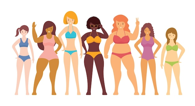 Donna in costumi da bagno vari tipi di forma del corpo