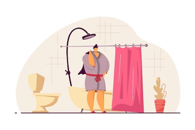 Donna che fa la doccia o il bagno al mattino. bagno, lavaggio, accappatoio piatto illustrazione vettoriale. igiene e concetto di routine quotidiana per banner, design di siti web o pagine web di destinazione