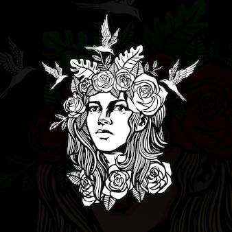 Illustrazione di schizzo del tatuaggio della donna