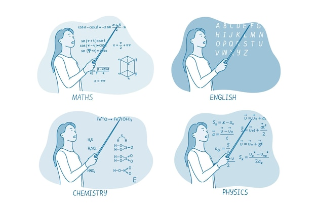 Insegnante donna di fisica che spiega le informazioni
