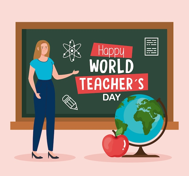 Insegnante di donna con lavagna verde e design della sfera del mondo, celebrazione del giorno dell'insegnante felice e tema dell'educazione