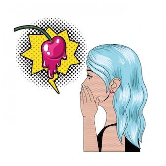 Donna che dice un segreto con il fumetto