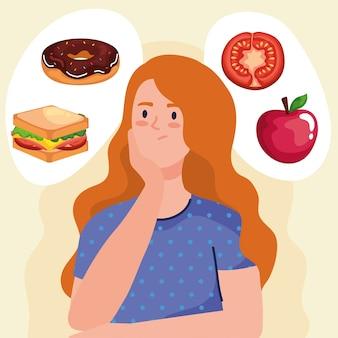 Donna che pensa al design di fast food, al cibo malsano e al tema del ristorante.