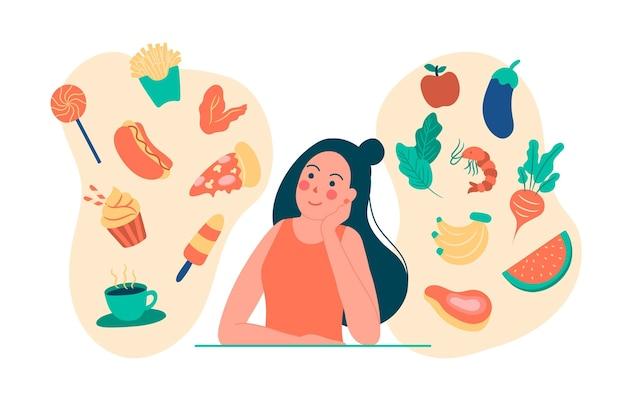 Donna che pensa al cibo sano e malsano