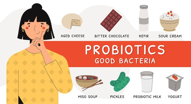 Donna che pensa a prodotti probiotici