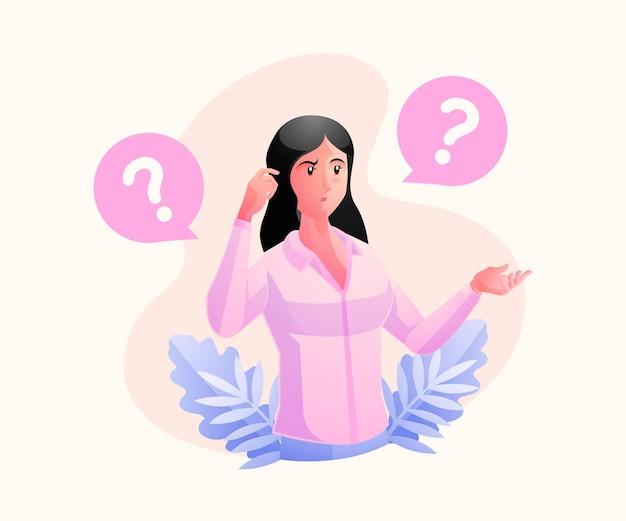 Una donna che pensa, cercando di trovare concetti di problem solving