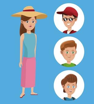 Camicia del cappello turistico della donna e viaggiatore del ragazzo del gruppo