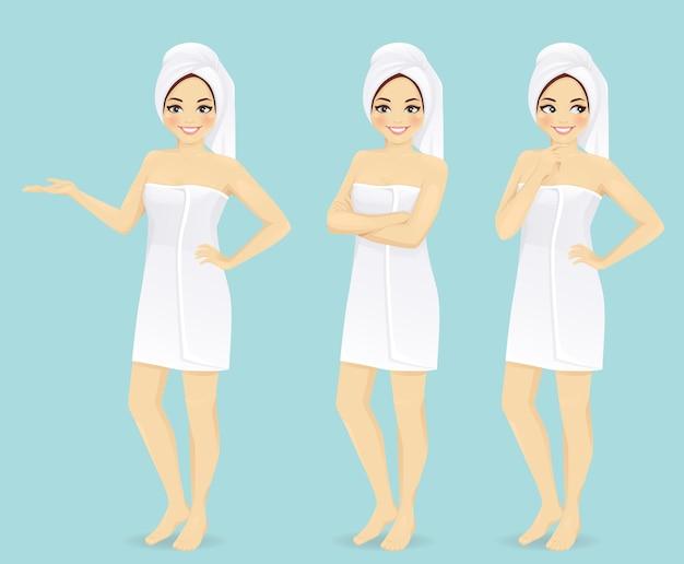Donna in illustrazione vettoriale asciugamano