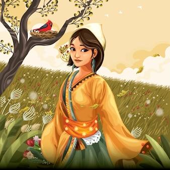 Donna in abiti tradizionali