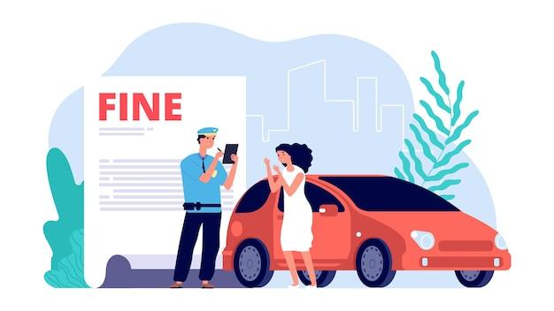 Donna e agente di polizia stradale. il poliziotto scrive multa, parcheggio improprio o violazioni. illustrazione di vettore del driver ragazza turbata. agente poliziotto, donna e polizia stradale