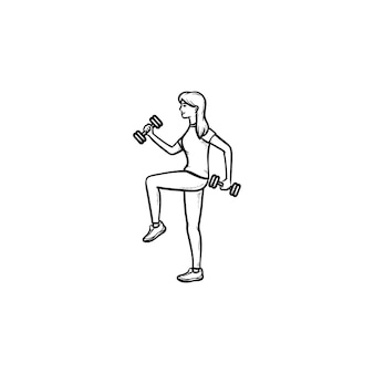 Addestramento della donna con l'icona di doodle di manubri contorni disegnati a mano. fitness in palestra, esercizi con il concetto di manubri