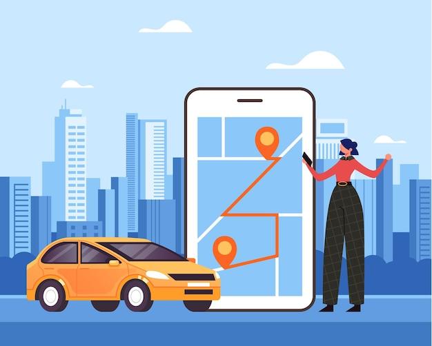 Carattere del viaggiatore della donna che fa ordine tramite l'app online di internet mobile in taxi e l'auto in attesa.