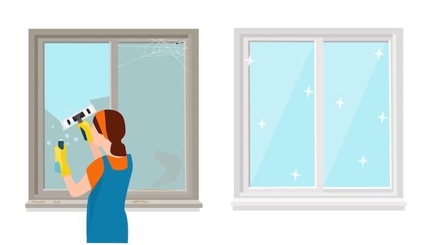 Una donna in uniforme lava le finestre con il detersivo. una finestra pulita e sporca. vettore