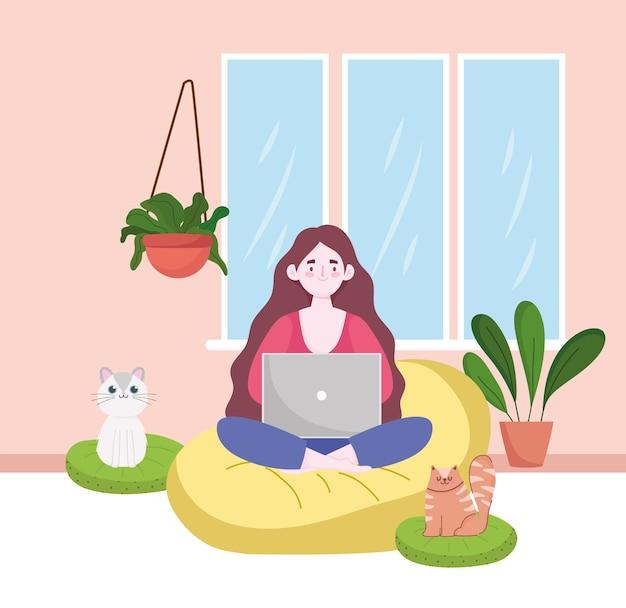 Donna che utilizza computer portatile lavorando, home office con gatti e piante home office illustrazione