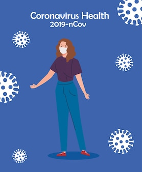Donna che usando la maschera protettiva medica contro la progettazione dell'illustrazione di vettore del coronavirus