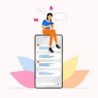 Donna che utilizza smartphone per chattare sui social media
