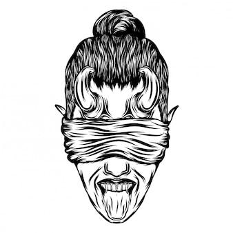 Illustrazione di donna vampiro con una lunga lingua e un piccolo corno