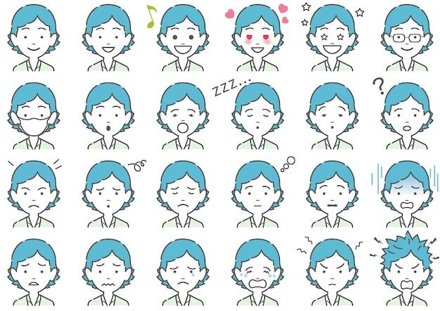 Donna, varie, espressioni facciali, set, isolato