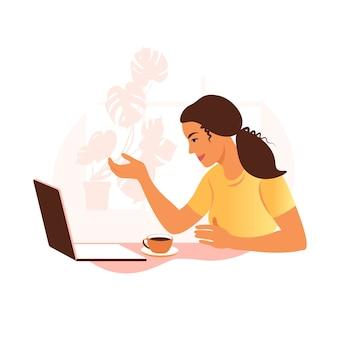 Un'illustrazione di videoconferenza della donna