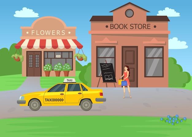 Donna che aspetta un taxi dopo aver fatto acquisti nell'illustrazione della libreria