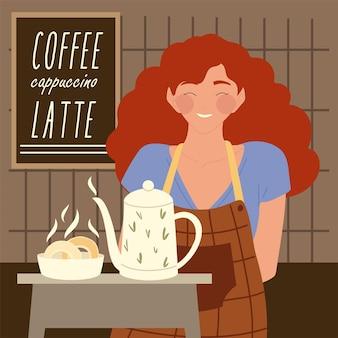 Ritratto di donna cameriera con teiera e illustrazione di pane