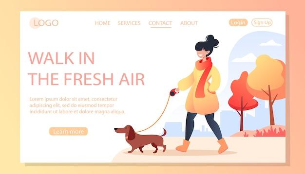 Donna che cammina il suo cane felice nella sosta di autunno, concetto di cura degli animali domestici, cane bassotto, illustrazione per la pagina del sito