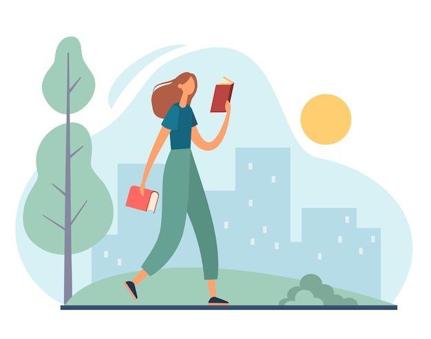 Donna che cammina nel parco e nella lettura. illustrazione di cartone animato