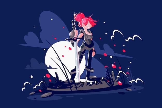 Eroe guerriero donna con spada sul campo di battaglia