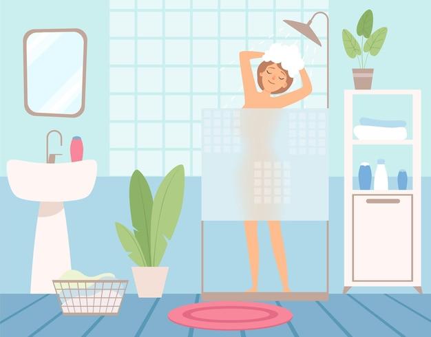 La donna si lava la testa sotto la doccia