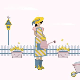 Fiori d'innaffiatura della donna all'illustrazione del giardino.