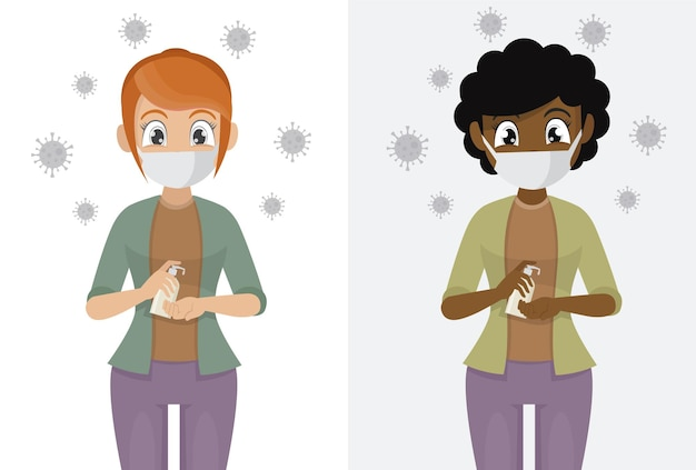 Le donne indossano maschere utilizzare gel antisettico alcolico per pulire le mani e prevenire germi e covid-19