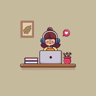 Cuffia da portare della donna che lavora al computer portatile con il concetto di call center di supporto di servizio di cliente