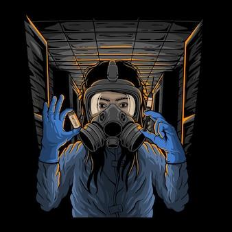 Donna che indossa una maschera e tiene iniezioni e farmaci per il vaccino