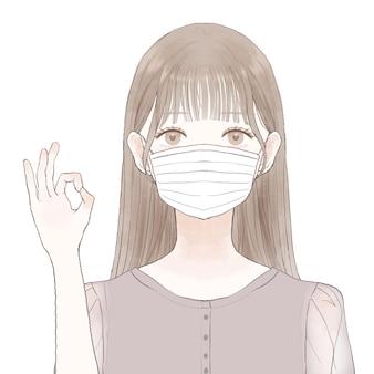 Donna che indossa maschera e inging segno ok. su uno sfondo bianco.