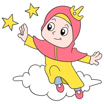 Una donna che indossa un hijab musulmano è seduta su una nuvola che raggiunge il suo sogno alto come una stella, illustrazione vettoriale. scarabocchiare icona immagine kawaii.