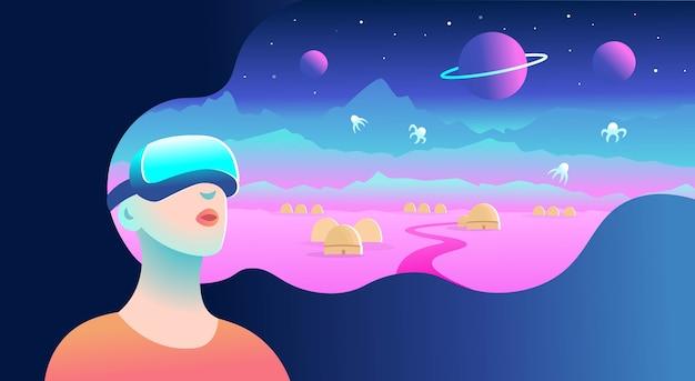 Donna che indossa occhiali per realtà virtuale e vede il paesaggio cosmico. illustrazione