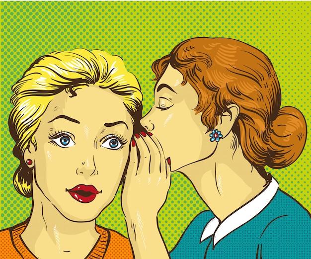 Donna che bisbiglia gossip o segreto alla sua amica