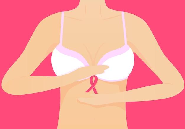 Donna in reggiseno bianco e nastro rosa. concetto nazionale del mese di sensibilizzazione sul cancro al seno.