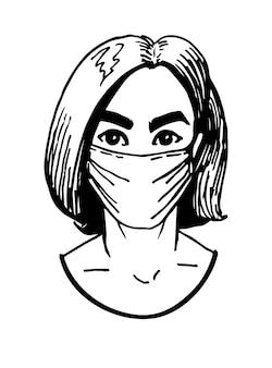 Donna in maschera medica bianca romanzo coronavirus 2019ncov concetto di quarantena coronavirus
