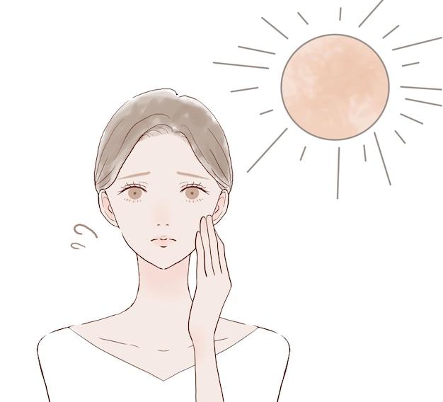 Una donna che è stata bruciata dal sole. su uno sfondo bianco.