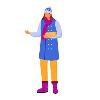 La donna in abiti invernali riceve l'illustrazione di colore piatto del pacco. ottenere post. invio di pacchi. servizi di consegna. tenendo gli elementi consegnati isolato personaggio dei cartoni animati su sfondo bianco