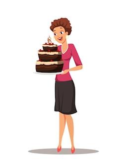 Donna con torta di compleanno al cioccolato con candela di ottavo anniversario.