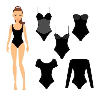 Donna con set di biancheria intima nera