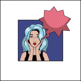 Donna con capelli blu e stile fumetto pop art