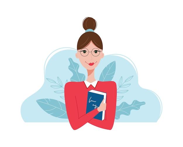 Donna con un libro per il giorno degli insegnanti concept